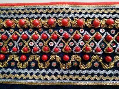 Plecak ze wstawką z granatowego aksamitu
