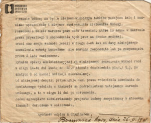 Pozwolenie na budowę domu przy ob. ul. Przybyszewskiego 47