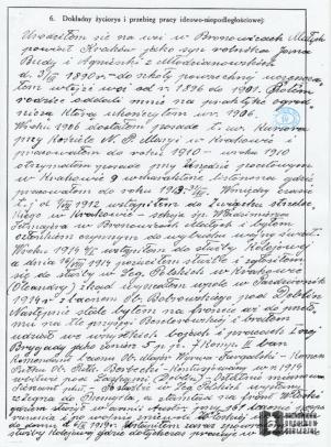 Kwestionariusz osobowy Franciszka Budy