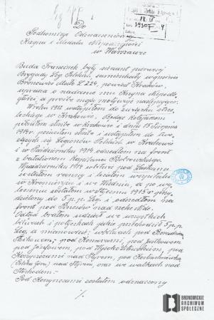 Własnoręcznie sporządzony opis przebiegu służby wojskowej Franciszka Budy, sierżanta I Brygady Legionów Polskich